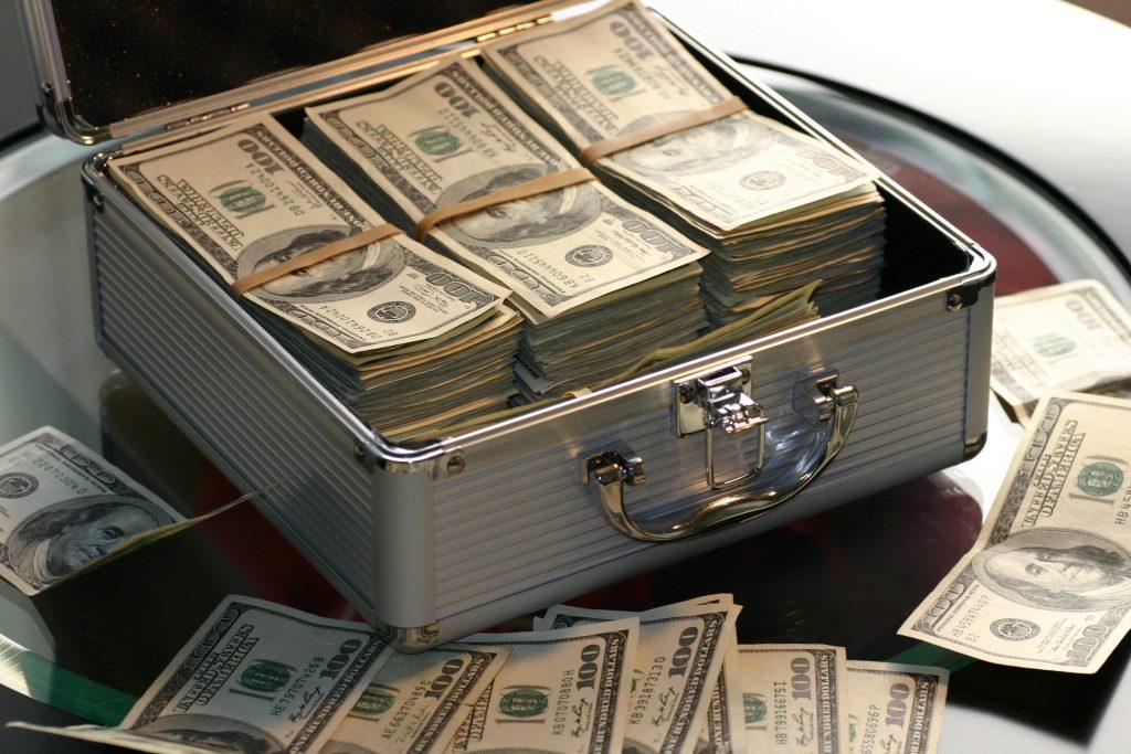 American banknotes in metal case