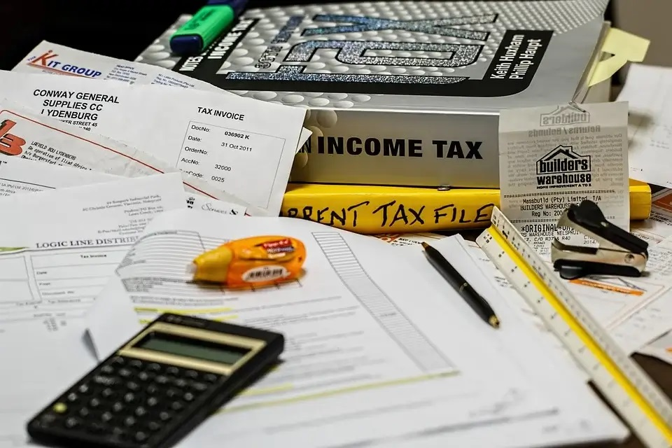 pile of income tax papers