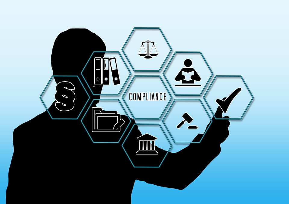 composite image of silhouette checking off corporate governance compliance checklist
